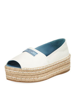 Prada Metallic Double-Sole Espadrille Sandal