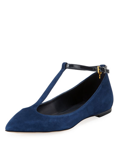 Tory Burch Ashton T-Strap Ankle-Wrap Flat