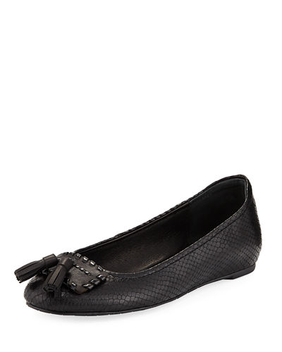 Pippa Snake-Print Leather Skimmer