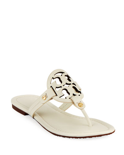 Miller Leather Logo Flat Slide Sandals