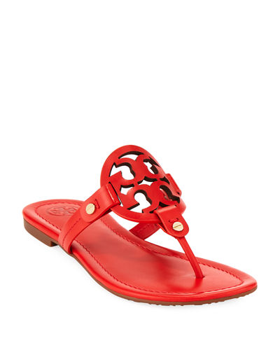 Miller Leather Logo Flat Slide Sandal