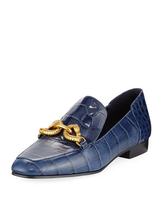 Tory Burch Designer Shoes, Jessa Croco Embossed Leather Loafers w/Goldtone Horse Hardware