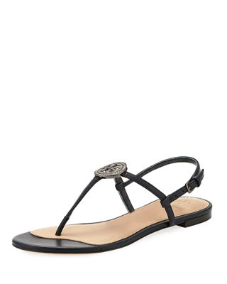 Liana Crystal-Embellished Leather Sandals, Navy