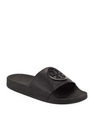 Women'S Lina Leather Pool Slide Sandals, Black