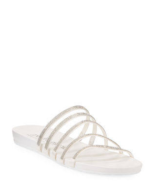 Gala Crystal Multi-Strap Flat Sandals in White