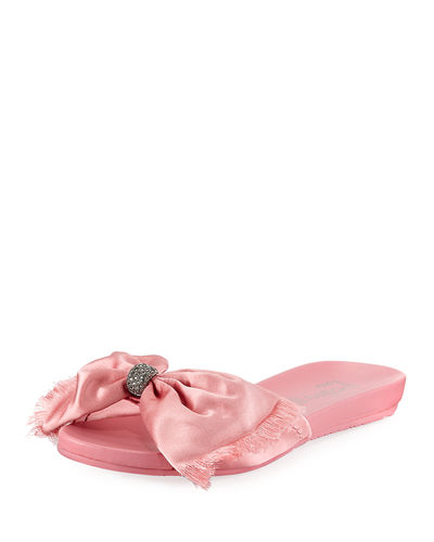 Gariela Satin Bow Slide Sandal