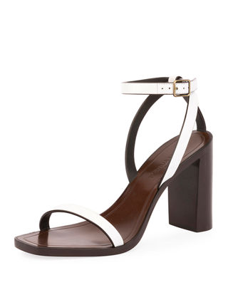 Loulou Ankle-Strap Leather Sandals
