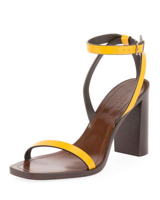 Leather Ankle-Strap Sandals - Yellow Size 6