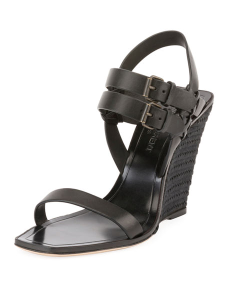 Find Great Saint Laurent Leather Wedge Sandals Buy Cheap Marketable Sale Find Great Buy Cheap Pick A Best Bv1YY