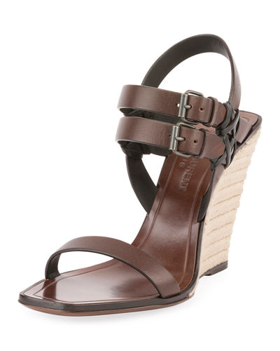 Leather Wedge Espadrille Sandal