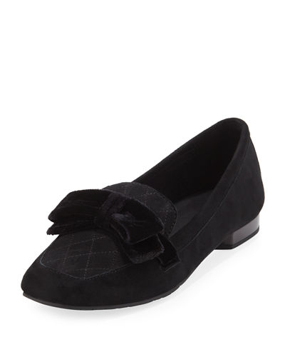 Harriet Suede Bow Flat Loafer