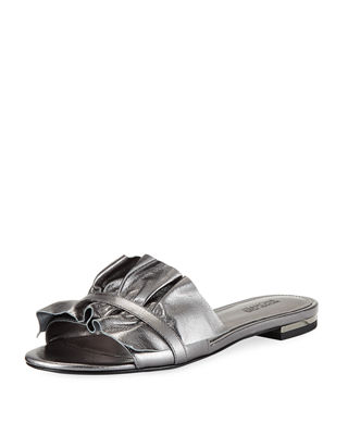 Bella Ruched Metallic Flat Slide Sandal