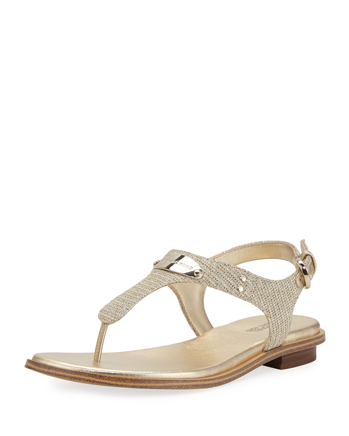 552cd93683c MICHAEL Michael Kors MK Plate Metallic Thong Sandals