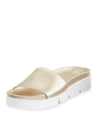 Stuart Weitzman Landslide Metallic Leather Slide Sandal