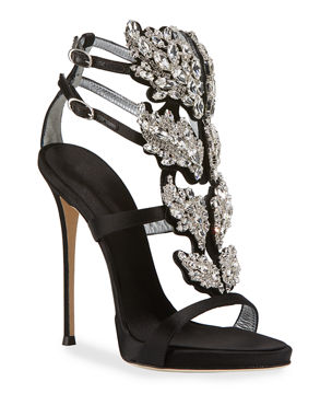 9a9c6b8d944 Giuseppe Zanotti Satin Wing Jeweled Sandals