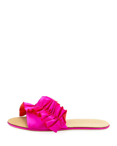 Rey Satin Ruffle Flat Sandals