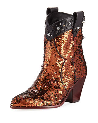 Coach Western Sequined Bootie