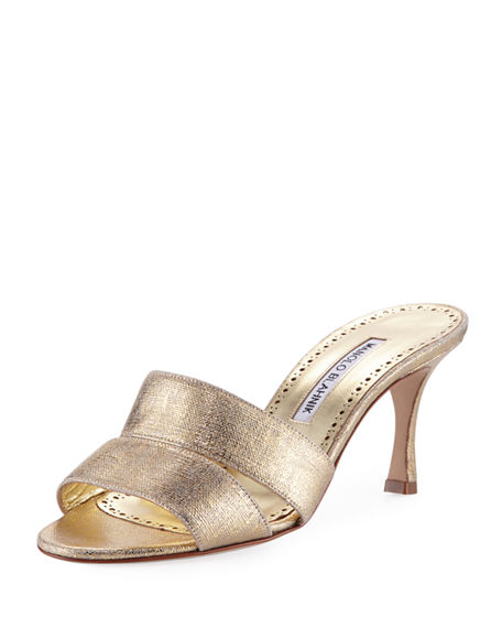 Outlet Low Price Manolo Blahnik Metallic-Trimmed Slide Sandals Buy Cheap Cost Discount Explore For Cheap Sale Online Sj4Bsq4r