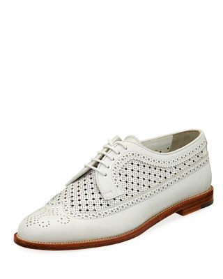 Manolo Blahnik Suede Leather-Trimmed Oxfords