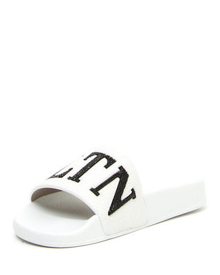 Image 1 of 3: VLTN Crystal-Embellished Pool Slide Sandal