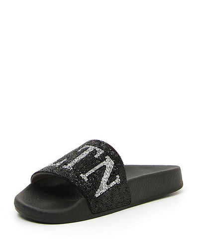VLTN Crystal-Embellished Pool Slide Sandal
