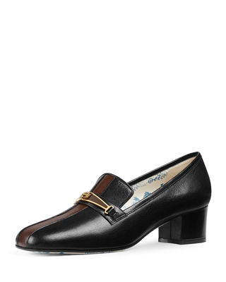 Gucci Ginger Tiger-Bit Leather Loafer with Stripe