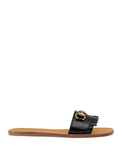 Leather Kiltie Slide Sandal with Bit