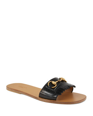 Women'S Varadero Fringe Leather Slide Sandals, Black