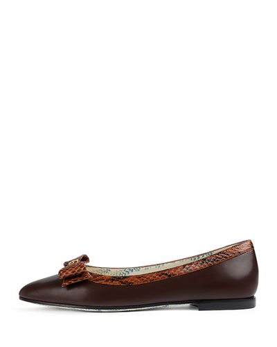 Ballet Flats with Snakeskin Bow