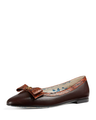 Gucci Ballet Flats with Snakeskin Bow