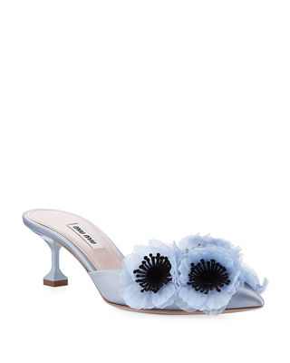 3D Floral Satin Mule with Jeweled Heel