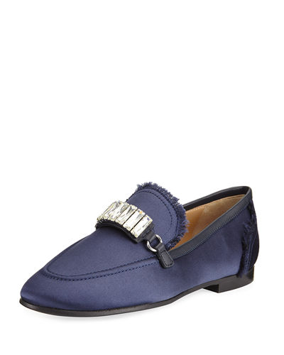 Giuseppe Zanotti Frayed Satin Loafer w/Jewel Strap
