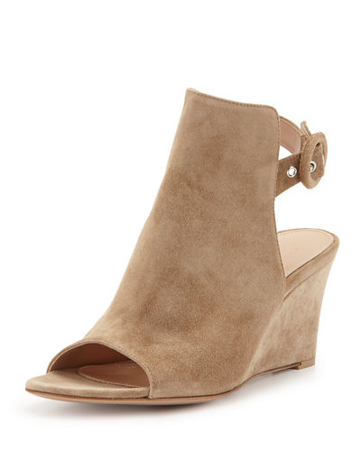 Gianvito Rossi Open-Toe Slingback Wedge Bootie