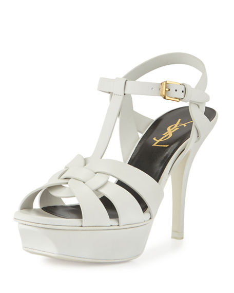 Image 1 of 3: Saint Laurent Tribute Leather 75mm Sandals