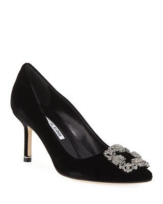 Image 1 of 3: Hangisi Crystal-Buckle Velvet 70mm Pump