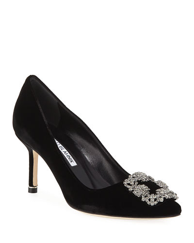 Hangisi Crystal-Buckle Velvet 70mm Pump
