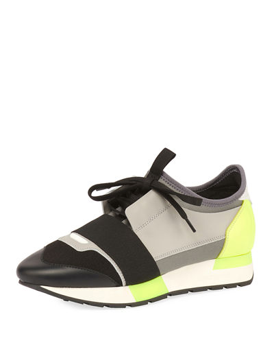 Colorblock Race Stretch-Sock Sneakers