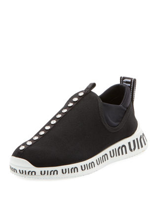 Knit Slip-On Sneakers With Crystals, Nero