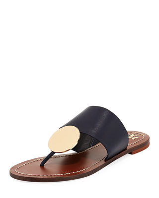 Patos Disk Leather Flat Slide Sandal