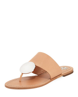 Patos Disc Smooth-Leather Thong Sandals, Natural Vachetta
