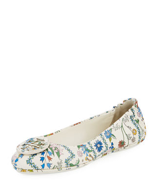 Tory Burch Minnie Floral Travel Logo Ballet Flat