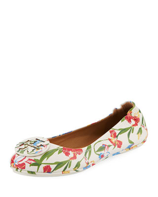 Tory Burch Minnie Floral Travel Logo Ballet Flats