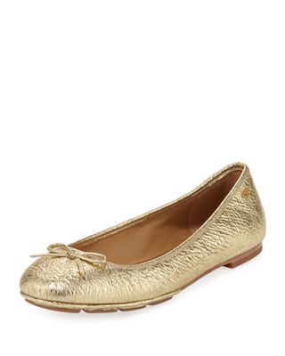 Laila 2 Metallic Leather Driver Ballet Flats in Gold/ Tan