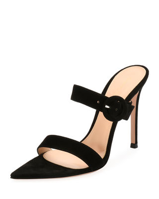 Suede Slide Buckle Sandal