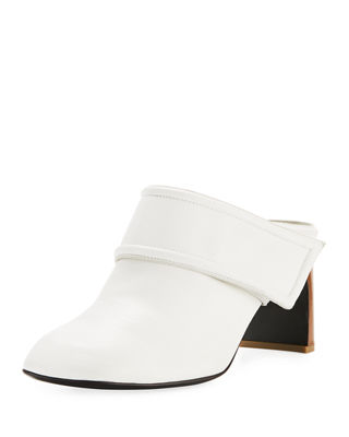 Elliot Mid-Heel Leather Mules, White