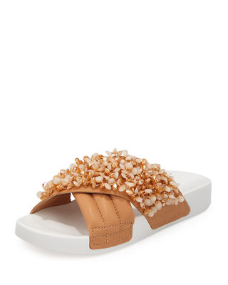 Tory Burch Women's Logan Embellished & Quilted Leather Pool Slide Sandals