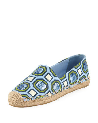 Tory Burch Sequined Round-Toe Espadrilles