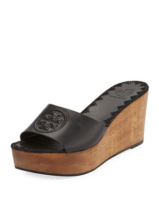 Women'S Patty Leather Platform Wedge Slide Sandals in Perfect Black