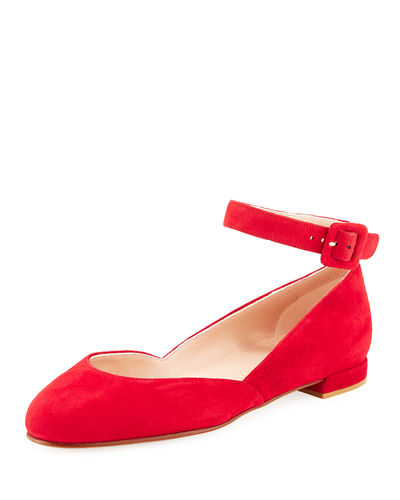 Domain Suede Ankle-Strap Ballerina Flat