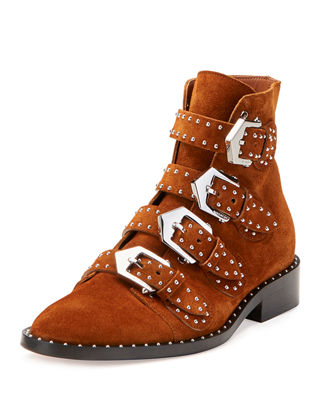 Image 1 of 3: Elegant Studded Suede Ankle Boot